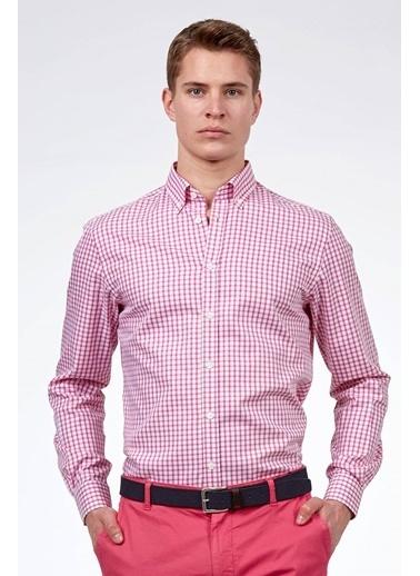 Hemington Kareli Uzun Kollu Gömlek Pembe